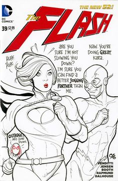 Power Girl and Flash by Frank Cho * - Art Vault