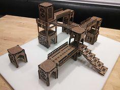 Laser-Cut miniature gaming terrain - industrial.