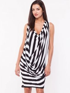 541681157d9 VERO MODA Striped Drape Front Dress from koovs.com Buy Dress