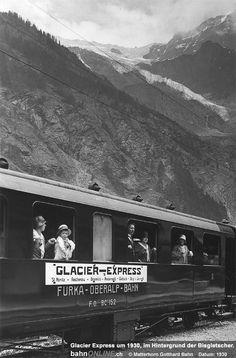 Glacier Express: Seit 85 Jahren unterwegs : bahnONLINE.ch Glacier Express, Swiss Railways, Switzerland, Vintage Photos, Nature, Photography, Travel, Beauty, Mountains