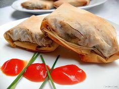 Con sabor a canela: Paquetitos de pasta filo rellena de lacón, setas y queso gallego