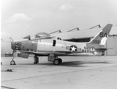 North American FJ-4B Fury at Naval Air Reserve Unit (NARU), Andrews AFB, MD. Both Navy and Marine are painted on the fuselage under the stableizer and tail. by aeroman3, via Flickr