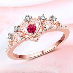 0811da779808 cadena de 15 años · Bridal Crystal Rhinestone Rose Gold Love Heart Crown  Ring Silver Plated  bridaljewelryrings