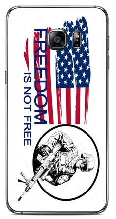 American Flag Freedom Is Not Free Soldier Image Samsung Galaxy S6 Edge Plus VINYL STICKER DECAL WRAP SKIN available at https://www.amazon.com/dp/B07418H89K #vinyldecalsticker #galaxys6 #mobileaccessories #americanflag #freedom