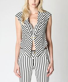 Another great find on #zulily! White Stripe Abelie Vest #zulilyfinds
