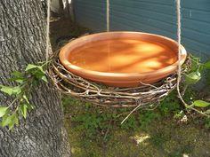 Grapevine Wreath Birdbath