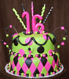cake idea Sweet Sixteen	it's pink and green!!