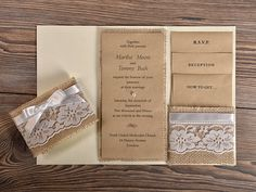 Natural Burlap Wedding Invitation Country Style by DecorisWedding