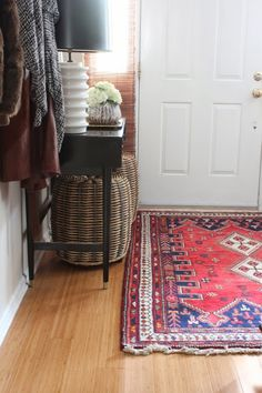 (BrandonRugs.com) Looking for a nice welcome home? Real, hand-knotted oriental rugs like this can make it an everytime-through-the-door experience.