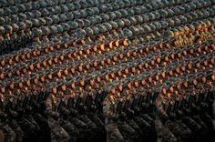 Chinese soldiers parade
