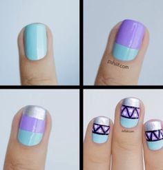 Pastel Lavender Teal Nails