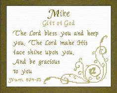 Cross Stitch Adrian with a name meaning and a Bible verse