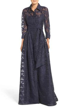 Rickie Freeman for Teri Jon Burnout Shirtdress Gown, Main, color, 410 Long Sleeve Evening Gowns, Women's Evening Dresses, Winter Dresses, Mob Dresses, Event Dresses, Nice Dresses, Mother Of The Bride Plus Size, Mother Of The Bride Gown, Mother Of Bride Outfits