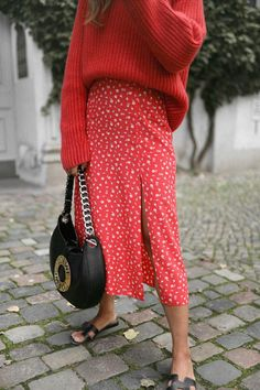 M's: Red Sweater over red skirt