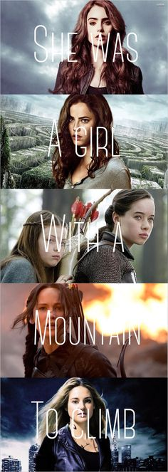 Clary Fray from Mortal Instruments, Teresa from Maze Runner, Lucy and Susan Pevensie from Chronicles of Narnia, Katniss Everdeen from Hunger Games, Tris Prior from Divergent Narnia, Hunger Games, Up The Movie, Fangirl, Citations Film, Fandom Quotes, Tribute Von Panem, My Books, I Love Books
