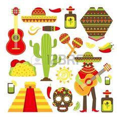 32133505-messico-simboli-di-viaggio-decorativo-icona-set-isolato-illustrazione-vettoriale.jpg (450×450)