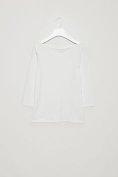 COS image 2 of 3/4 sleeve wide-neck t-shirt in White