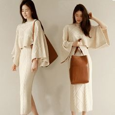 Korean Autumn Winter Batwing Sleeve Knitted Set O-Neck Top Sweater Skirt Casual Suit Solid Office Lady Sweater Set Knitwear Fashion, Knit Fashion, Classy Outfits, Cool Outfits, Long Sweaters, Sweaters For Women, Mode Bcbg, Modest Fashion, Fashion Outfits