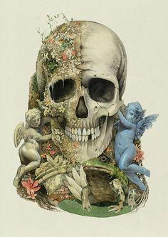 Dmitry Ligay Illustration –more (little piece of the world) images @ http://www.juxtapoz.com/Illustration/dmitry-ligay-illustration –#Skull #Illustration #Dmitry Ligay