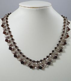 Woven Swarovski Necklace in Chocolate Sale by IndulgedGirl on Etsy