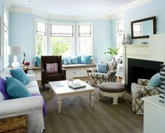 wohnzimmer einrichten ideen blaue farbe wand gestaltung | blaugrün, Hause deko