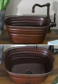 BKR16 Inch Hammermarc Copper Rectangle Bucket Style Vessel Sink W/handle