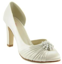 wedding shoes | Ivory Pearl & Crystal Dyeable Satin Bridal Shoes