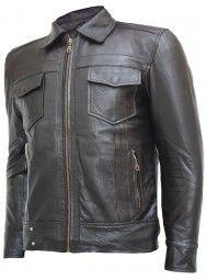 Top Notch Zipper Men's Brown Leather Jacket