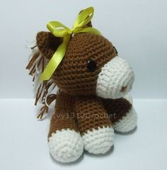 "Ribbon Horse 5.9"" - Made to order - Handmade Amigurumi crochet doll Home decor birthday gift Baby shower toy. $18.50, via Etsy."