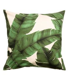 Print motif cushion cover - Natural white/Leaf - Home All H&m Deco, Cushion Covers, Pillow Covers, Deco Originale, Palm Tree Print, White Leaf, Printed Cushions, Spring Home, Leaf Prints