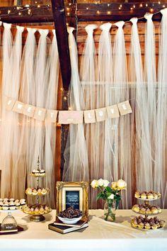 Decor: maybe do something like this along the stage??  Tulle Wedding Decor Details; Wedding Tulle (BridesMagazine.co.uk)