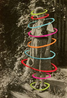 collage by virginia whipple. I love the idea of a vintage image edited in colors.