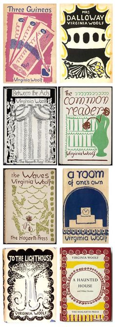 """Virginia Woolf book covers designed by her sister Vanessa Bell. I wrote a """"diary"""" of Vanessa Bell for a high school honors class project  - my favorite comment from my teacher was that as Ms. Bell I seemed to be in a constant state of pregnancy. The research was DELIGHTFUL. Vanessa was also in a constant state of love."""
