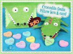Crocodile Smile Pillow Box & Card at www.joyslife.com #SilhouetteCameo  #LetteringDelights