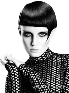 2016 Black bunt asymmetric crop with fringe point detail - Hairstyle Gallery