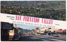 Greeting from San Fernando Valley CA - view of the San Fernando Valley and Studio City circa 1950's