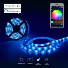 Led Strip Lights, Wifi Rope Lights 300 Leds 16.4ft 5m Led Light Strip Smartphone Controlled Work with Alexa Google Home Flexible5050 RGB LED Strip lights Waterproof Android and ios Compatible