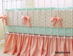 Custom Nursery including Peach and Mint Baby Girl Crib Bedding in 3-Piece Set - Bumper, Sheet, and Skirt for a Stunning Modern Design - http://babyfur.net/custom-nursery-including-peach-and-mint-baby-girl-crib-bedding-in-3-piece-set-bumper-sheet-and-skirt-for-a-stunning-modern-design.html