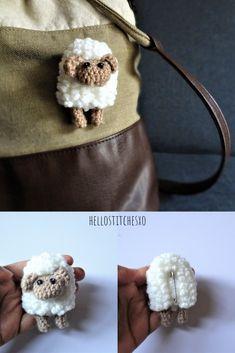 Crochet brooch/pin free pattern A free pattern to make this cute crochet sheep brooch/pin. Marque-pages Au Crochet, Crochet Mignon, Crochet Brooch, Crochet Motifs, Crochet Patterns Amigurumi, Crochet Gifts, Cute Crochet, Crochet Dolls, Knitting Patterns