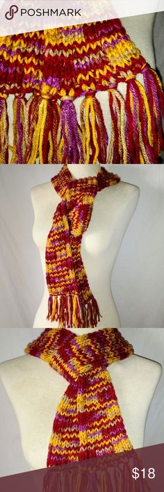 #hundredsofscarves: HANDMADE Colorful Knit Scarf Soft Warm Multi-Color Maroon Orange Purple Hand-Knit Acrylic Winter Scarf with Fringe. Well made.  In excellent used condition. From a smoke free home. Make an offer! BUNDLE & Automatically Get 20% Off on 2+ Items. Bundle one or more items and I'll make you a private offer up to 40% off - the bigger the bundle the bigger the savings! *Hundreds of Scarves @gratefulbox = POSH AMBASSADOR at yr service!* Vintage Accessories Scarves & Wraps