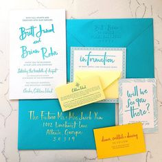 One of my fave invitation suites to date for the lovely Britt of @swellpresspaper . There are a couple of things missing because this awesome suite is SO LARGE (and so good) that I couldn't fit it all into the frame but you can see more at #brittlovesbrianonpaper 💕 so happy for you Britt, now let's get you married, mmkay ?? Brush lettering by @mybabyolivejuice and obvs awesome letterpress by @swellpresspaper 💕 CATALINA ISLAND BABY! 🐠🐟🌴🌼🍹🍾🍾🍾 #MBOJenvelopes  .  #letterpress…