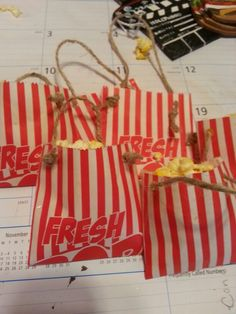 Miniature popcorn bags ornaments for Snack bar themed Christmas tree