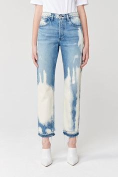Shop cropped jeans for women including the coveted Straight Authentic Crop, cropped boyfriend jeans, skinny jean crops, and the popular Shelter Wide leg Crop. Diy Jeans, Vintage Jeans, Bleached Jeans, Tie Dye Jeans, Fashion Figures, Denim Trends, Fashion Project, Denim Fashion, Boyfriend Jeans