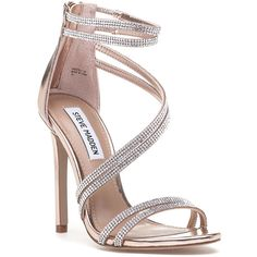 STEVE MADDEN Sweetest Rose Gold Rhinestone Sandal ($99) ❤ liked on Polyvore featuring shoes, sandals, gold leather, rhinestone shoes, high heeled footwear, high heel prom shoes, rose gold metallic shoes and zip back sandals