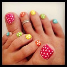rainbow colors polka dots - pomegranate, orange, yellow, light green, light blue with white polka dots. Do you like this design? Will you wear this? #nail #nailarts
