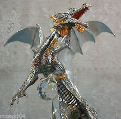 Franklin-Mint-Sterling-Silver-Dragon-With-Crystal-Statue-Figurine-Sculpture-NEW