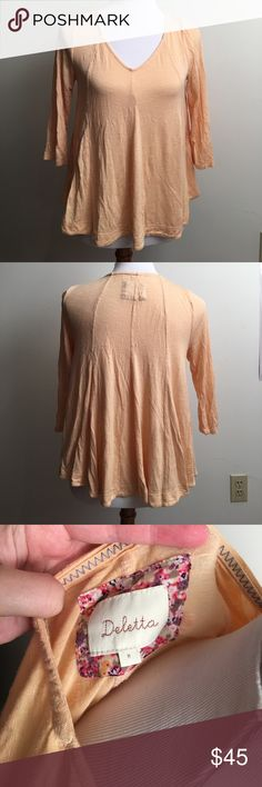ANTHROPOLOGIE DELETTA tunic Anthropologie deletta light orange colored flowy shirt. 3/4 length sleeve. Size medium. Excellent condition. Anthropologie Tops Tees - Long Sleeve