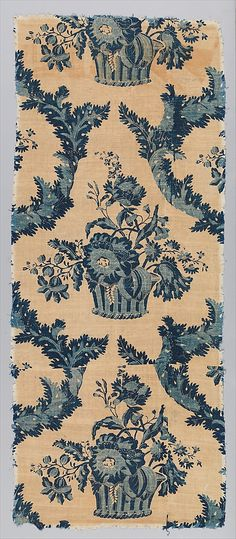 Panel 1760, England. Block printed & resist dyed - Love this blue color