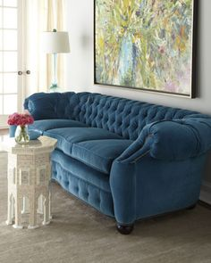 "Old Hickory Tannery ""City Club"" Sofa. Love the teal color & button tufting"