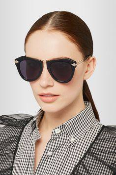 d99a17fed6bd Karen Walker - One Orbit round-frame acetate and gold-plated sunglasses